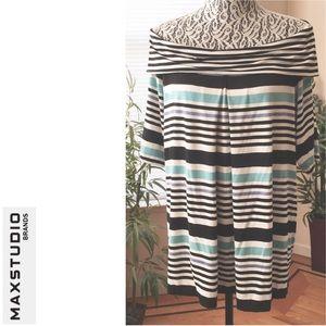 MAX STUDIO Stripe Off-the-Shoulder Knit Top, Large